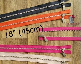 "Zipper, DETACHABLE, 18"", (45cm), zipper, silver metal, nylon, for clothing, repair, Z18-45"