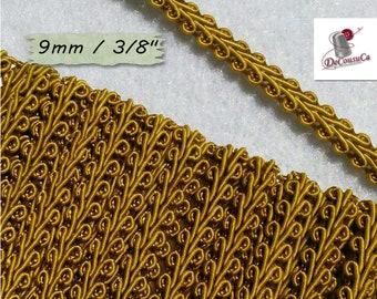 "4 yards,trim, gold antique, Cracked Ribbon, Ribbon Tapestry, Vintage, 9mm, (3/8 ""), RB13"