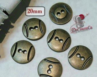 6 Buttons, antique gold, 20mm, metal button, 2 holes, sport button, BM55