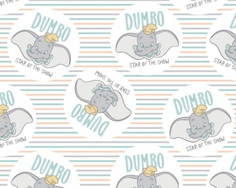 Fabric DUMBO of Disney, white, #85160304 - My Little Circus of Camelot Fabrics