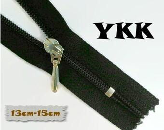 YKK, 13cm to 15cm, BLACK, Zippers, Silver Metal Slider, 3C, Decorative Clasp, Non-Detachable, Z100
