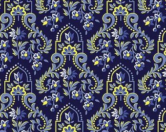 Baroque Navy, Somerset, 6790, col 55, Benartex, cotton, cotton quilt, cotton designer