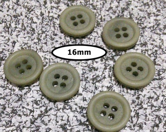 6 buttons, 16 mm, GRAY-GREEN 4 holes, vintage button, Btn 32B