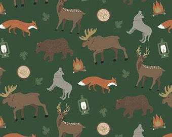 Adventure is Calling of Riley Blake Designs, Fabric animals, GREEN, #10721 , fabric, cotton, quilt cotton