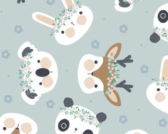 Rabbit, Floral Menagerie, 21192302, col 01, Camelot Fabrics, 100% Cotton