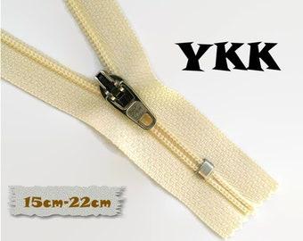 YKK, 15cm-22cm, Ivory, Zipper, Cursor 45C, 6-8 3/4 Inch, Metal Slider, Zipper, Non-Detachable, vintage, 1980, Z04
