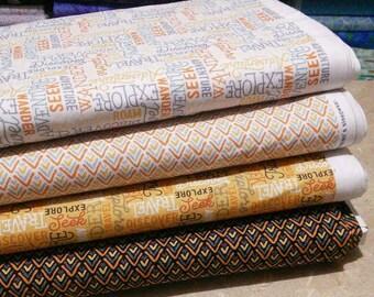Bundle, 4 prints, Adventurers, Camelot Fabrics, Quilt cotton