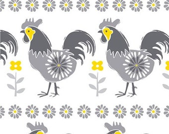 Roosters, grey, yellow, white, Village Life, 30180103, Camelot Fabrics, 100% Cotton