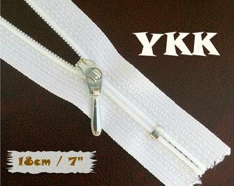 YKK, 18cm, White, Zipper, Cursor 3C, 7 Inch, Metal Slider, Zipper, Non-Detachable, vintage, 1980, Z100