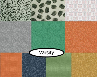 SALE, Bundle, 10 prints, Varsity, Riley Blake, (Reg 37.60-194.90)