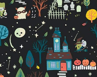 Halloween Fabric- Halloween, CHARCOAL, Tiny Treaters, 10480, Riley Blake, fabric, cotton, quilt cotton