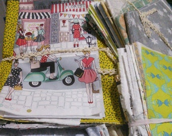 25 Quilt Fabric Scrap Bundle, Fabric Cotton, Fat Eight, Fat Quarters, Quilting Fabric, Handicraft Fabric, photo as an example
