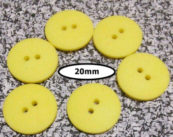 6 Buttons, 20mm, SHADE YELLOW, button 2 holes, BTN 74A