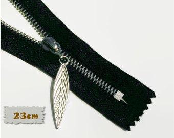 23cm, zipper, 9 pouce, black, silver, leaf 4cm, perfect for wallets, clothing, repair, Z23-9