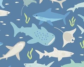 Sharks, Denim, Riptide, 10300, Riley Blake, cotton quilt, cotton designer, (Reg 3.76-21.91)