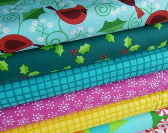 25%, KIt of 7 designs, Very Merry, Andover, Bundle, 1 of each print, quilt cotton