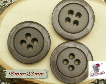 3 Buttons, 18mm, 23mm, brown, 4 holes, decorative, Vintage, GR10