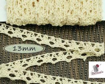Cotton Lace, Light Beige, 13mm, (1/2 inch), Lace, Cotton, Vintage, DT14,