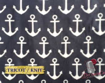 COUPON 70cm X 150cm, Poly / spandex jersey, knit, 95 polyester, 5 spandex, stretch fabric, garment fabric, Anchor, navy