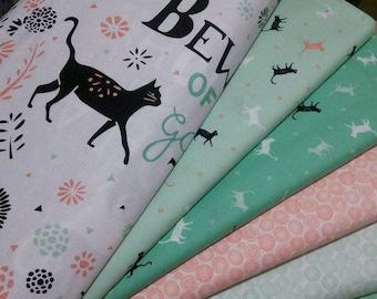 SALE, Bundle, 5 prints, CAT, Jungle Urban of Camelot Fabrics, Quilt cotton, (Reg 18.80-97.45)