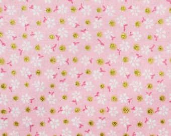Fabric Pink Floral, Dots Gold, 80526149, Floral Dots, cotton, cotton quilt, cotton designer