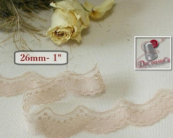 Lace vintage, 26mm, 1 inch, beige, by the yard, DT18