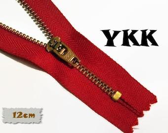 YKK, 12cm, Zipper, Cursor 45, Red, 4 3/4 Inch, Metal, Zipper, Non-Detachable, vintage, 1980, Z07,0