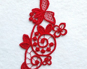 Applied, lace, red, 2 1/2 inches x 5 inches, polyester, vintage,