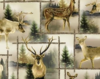 Scenic deer, Lodge Life, 8969, col 07, Benartex, cotton, cotton quilt, cotton designer