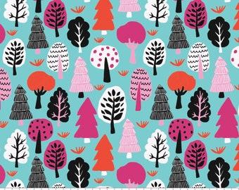 SALE, Forest in Aqua, 31170102, col 02, Neighbourhood, Camelot Fabrics, 100% Cotton, (Reg 3.76-21.91)