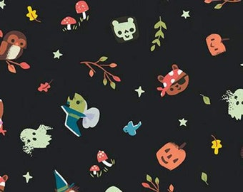 Halloween, CHARCOAL, Tiny Treaters, 10481, Riley Blake, fabric, cotton, quilt cotton