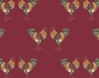 SALE, Cockerel, Fables, Laura Ashley, 71180404, col 01, Camelot Fabrics, cotton, cotton quilt, cotton designer, (Reg 3.76-21.91)