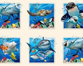 "Panel, 24""X44"", Dauphin, requin, baleine, 15 motifs, 1317, Élizabeth's Studio, 100% Cotton, (Reg 13.15)"