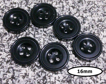 6 Buttons, 16mm, GLOSSY BLACK, button vintage, BTN 102