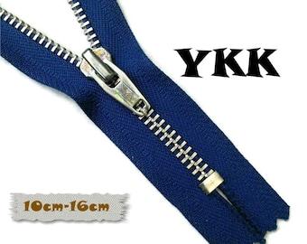 YKK, 10cm, 16cm, Dark blue, Zipper, Cursor V, 4-6 1/4 Inch, Metal, Zipper, Non-Detachable, vintage, 1980, Z16