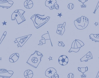 Blue, Tossed Equipment Outlines, All Star Sports, 61190204, col 02, Camelot Fabrics, cotton, cotton quilt, cotton designer