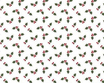 Holly Holiday, Riley Blake Designs, Christmas fabric 100% cotton mistletoe, #10886 WHITE