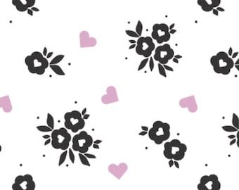 Black flowers, Small pink hearts, white background, XOXO, 21190706, col 02, Camelot Fabrics, cotton, cotton quilt, cotton designer
