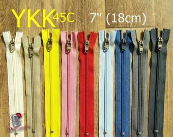 "YKK, Zipper, curseur 45c, 7"", (18cm), Zipper sport, nylon, perfect for wallets, clothing, leather, Z05"