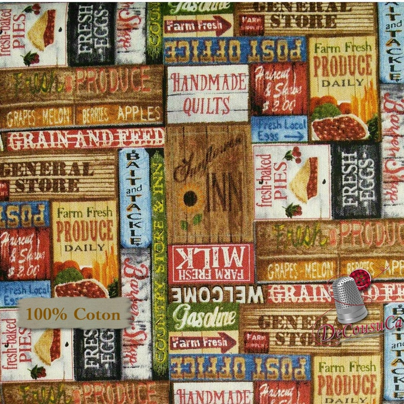 Reg 2.99-17.99 Label 9356 multiple quantity cut in 1 piece 100/% Cotton, Blank Quilting Country Paradise