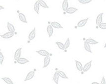 Leaves, silver, white, métallique, Jubilee, 5495, Benartex, cotton, cotton quilt, cotton designer
