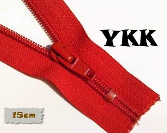 YKK, 15cm, Zipper, Cursor 5C, Red, 6 Inch, Metal Slider, Zipper, Non-Detachable, vintage, 1980, Z07