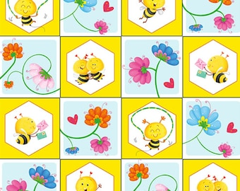 """Bees in Small Squares, BUSY BEES, 1409-44, Henry Glass & Co, 100% Cotton, square 3""""X3"""""""