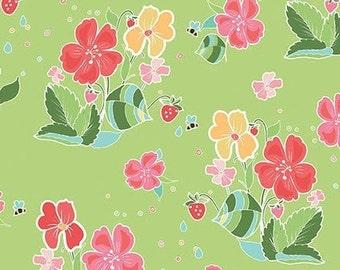 Flower, Bee, Strawberry Honey, C10240, KEY LIME, Riley Blake, cotton quilt, cotton designer