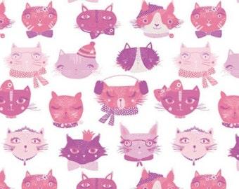 Cat faces, pink, white, 71190105, col 01, The Girls Collection, Camelot Fabrics, cotton, cotton quilt, cotton designer