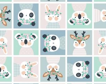 Rabbit, Floral Menagerie, 21192303, col 01, Camelot Fabrics, 100% Cotton