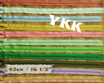 YKK, 42cm, 1 zipper, #3, 16 1/2 inchs, vintage, 1980, varied color, nylon, perfect for wallets, clothing, repair, creation