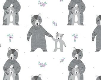 Ours, mère et enfant, Bear Hug, 21181501, col 01, Camelot Fabrics, 100% Cotton