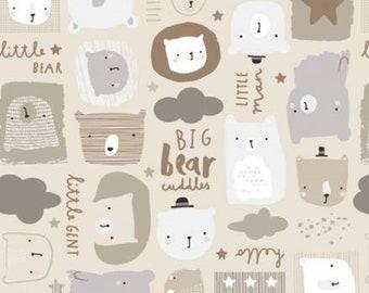 Bear, beige, 21185501, col 03, Big Bear Cuddles, Camelot Fabrics, 100% Cotton