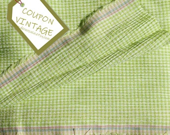 COUPON 200cm X 150cm, Clothing fabric, Mini-Check, lime green, 100% polyester, opaque and light, Slightly stretch, for skirt, blouse, dress